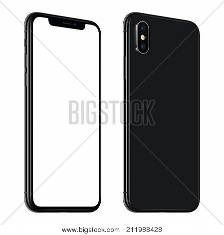 Rotated smartphone similar to iPhone X mockup front and back side. New modern black frameless smartphone mockup with blank white screen and back side with dual camera module. Isolated on white background.