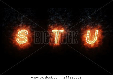 Burning Font S, T, U, Fire Word Text With Flame And Smoke On Black Background, Concept Of Fire Heat