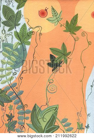 Body on a pattern background with leaves