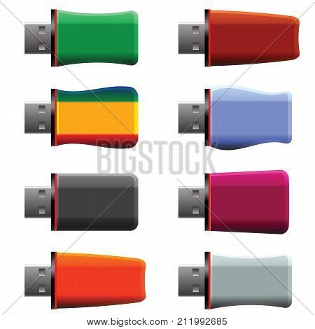 colorful illustration with USB memory stick on white background
