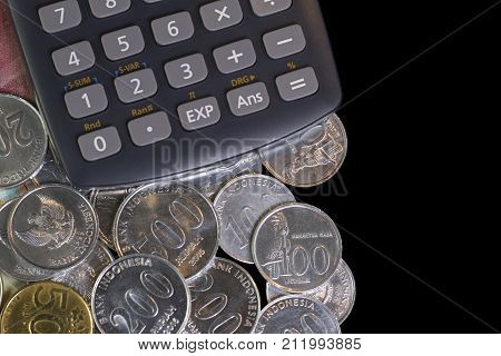 Top view / Flat Lay of Illustration for Spending money and payments for travelling in isolated black template with calculator