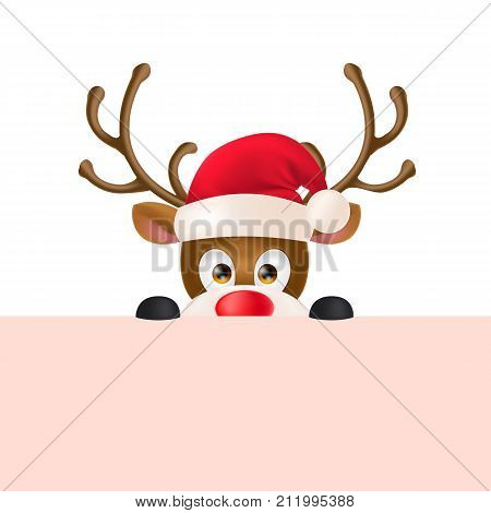 Cute reindeer wearing Santa Claus hat and peeping out. Christmas design element. For greeting cards, posters, leaflets and brochures.