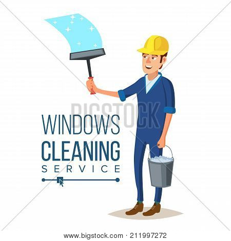 Windows Cleaning Service Vector. Window Washer Is Cleaning High Building. Washing Windows Of The Modern Building. Flat Cartoon Illustration