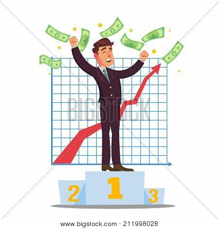 Successful Trader Vector. Stock Market Graph Diagram. Ascending Graphs. Data Analyses. Isolated On White Cartoon Character Illustration