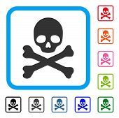 Skull And Crossbones icon. Flat grey iconic symbol in a light blue rounded rectangular frame. Black, gray, green, blue, red, orange color variants of Skull And Crossbones vector. poster
