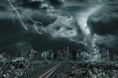 3D illustration of tornado or hurricane's detailed destruction along its path toward fictitious city with flying debris and collapsing structures. Concept of natural disasters judgment day apocalypse. poster