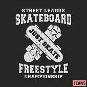 T-shirt print design. Skateboard freestyle stamp for denim t shirt. Printing and badge applique label t-shirts jeans casual and urban wear. Vector illustration. poster