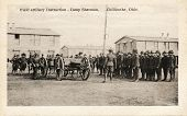 Field Artillery Instructions - Early 1900 WWI postcard depicting soldiers receiving artillery instructions at Camp Sherman in Chillicothe, Ohio. poster