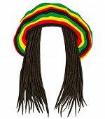 Jamaican rasta hat.Hair dreadlocks black colour . reggae .funny avatar poster