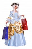 Woman in ancient dress of marquise with gift bag. poster