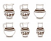 Set of ceramic crockery in brown and white colors. Collection jugs in different variation. Rustic ceramic utensils, monochrome vector illustration for your design. Horizontal location. poster