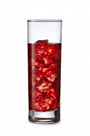 Red Drink In Tall Glass With Ice Cubes Isloated