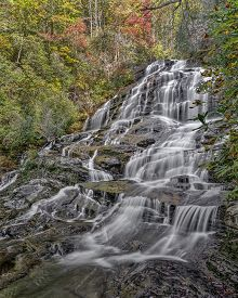 Glen Falls is a scenic series of major waterfalls that totals about 600 feet. It's close to Highlands North Carolina. This is the second section of the falls.