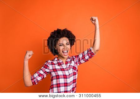 Portrait Of Her She Nice Attractive Ecstatic Excited Cheerful Cheery Satisfied Wavy-haired Lady Wear