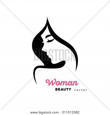 Woman Face Logo Design. Vector Illustration. Girl Profile Silhouette For Cosmetics, Beauty, Health A