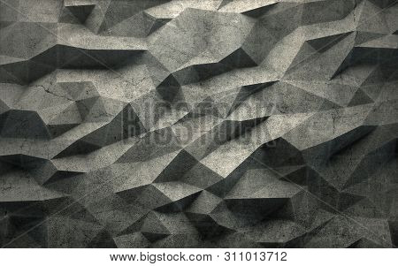 Abstract Faceted Geometric Concrete Background. 3d Rendering