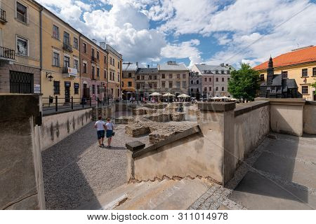 Lublin, Poland - Jul 8, 2018: Plac Po Farze Square In The Oldest Part Of Lublin Old Town, Where The
