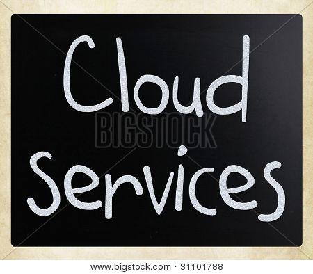 """cloud Services"" Handwritten With White Chalk On A Blackboard"