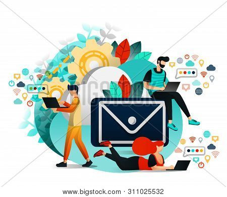 Vector Illustration Of Communication And Internet, Group Of People Who Communicating, Learning And W