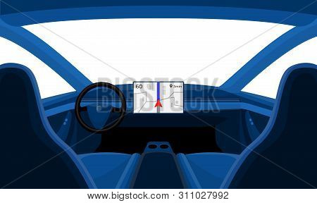 Isolated Inside Car Interior Front Dashboard View Outside Window