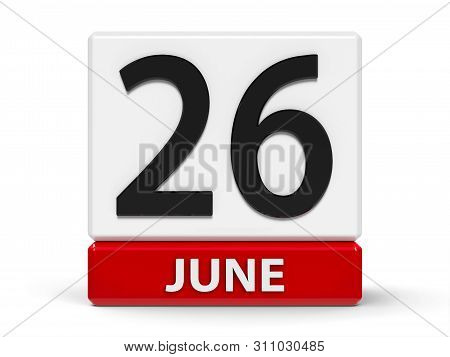 Red And White Calendar Icon From Cubes - The Twenty Sixth Of June - On A White Table - Day Against D