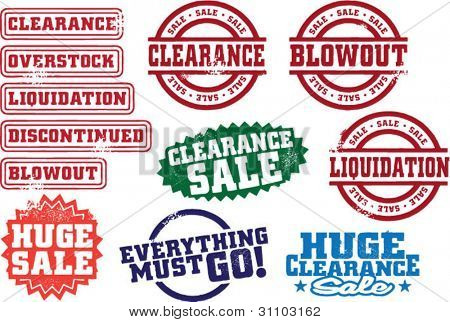 Clearance Sale and Retail Stamps