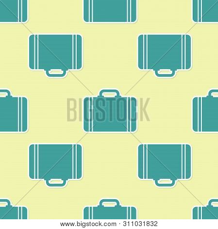 Green Suitcase For Travel Icon Isolated Seamless Pattern On Yellow Background. Traveling Baggage Sig