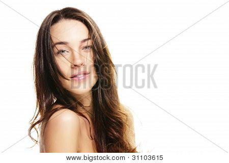 beautiful woman with unkempt hair