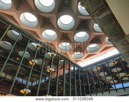 Turin, Piemonte, Italy. June 2019. At The Teatro Regio, Detail Of The Modern Structure, Natural Ligh