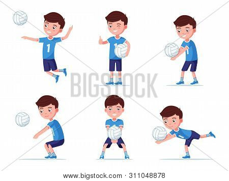 Set Of Boy Volleyball Player In Various Poses Playing With A Ball. Collection Of A Child In Sportswe