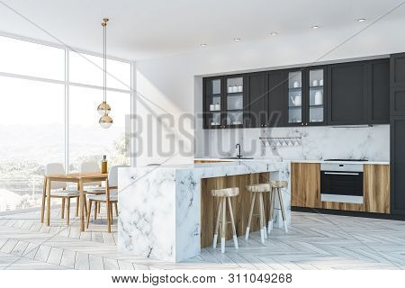 White Marble And Gray Kitchen Corner Bar And Table