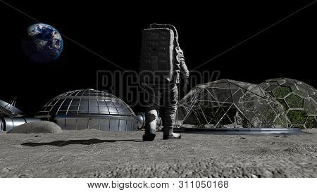 3d Rendering. Sci-fi Scene. The Colony Of The Future On The Moon. Astronaut Walking On The Moon. Cg