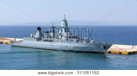 Piraeus, Greece - July 7: German Frigate Hessen Docked In Piraeus Port On July 7, 2019. Hessen Is Th