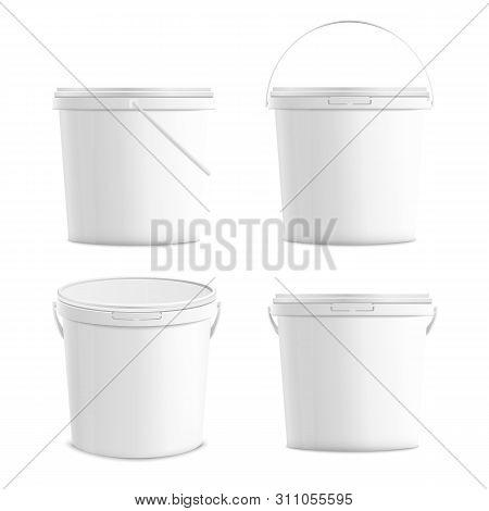 White Blank Plastic Buckets Set 3d Realistic Mockup Vector Illustration Isolated.