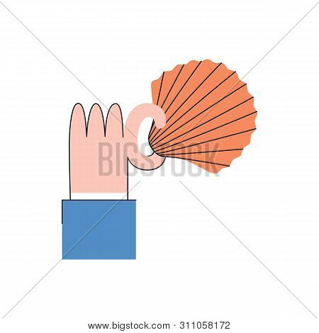 Vector Business Man Hand In Suit Holding Shell