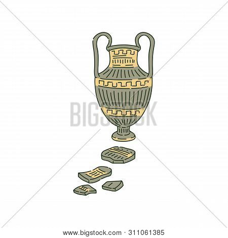 Ancient Amphora With Handles And Splinters Sketch Style