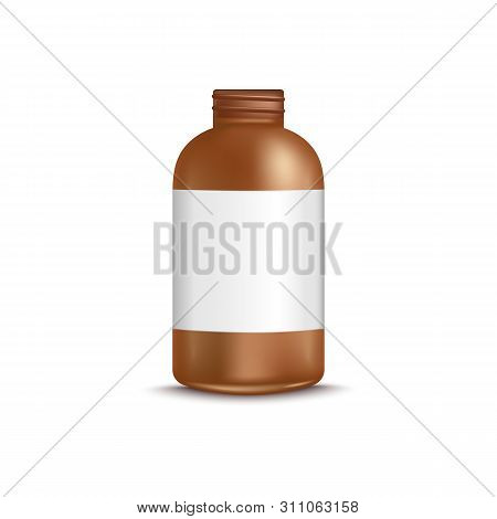 3d Brown Uncovered Bottle With Blank Label Realistic Style