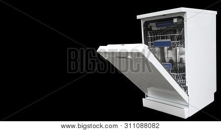 Dishwasher Machine Isolated On A Black Background. Internal Shelves Of Dishwasher For The Distributi