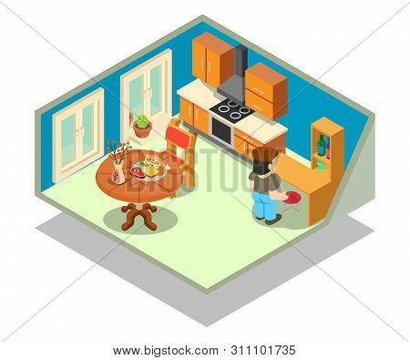Livingroom Concept Banner. Isometric Banner Of Livingroom Concept For Web, Giftcard And Postcard
