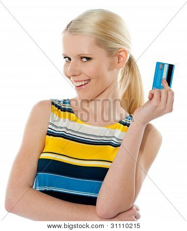 Blond Salesgirl Posing With Credit Card