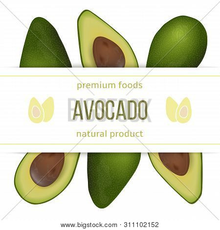 Avocado Card Template With Copy Space On Stripe. Ripe Raw Fruit. Persea Americana Exotic Whole And H