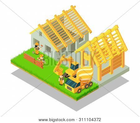 Village Concept Banner. Isometric Banner Of Village Concept For Web, Giftcard And Postcard