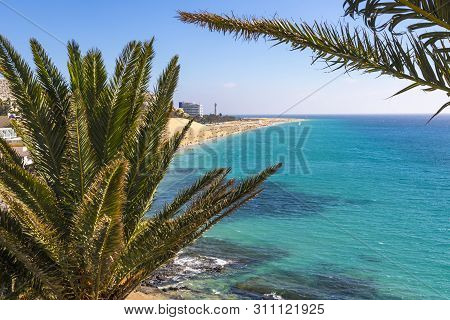 Picturesque View Of Beach In Morro Del Jable Town (morro Jable Beach) On Fuerteventura Island, Canar