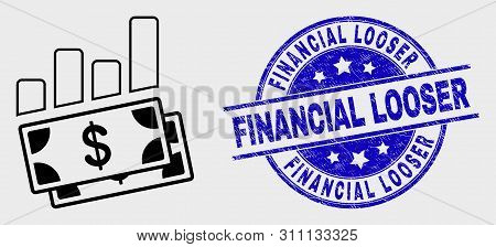 Vector Outline Financial Charts Pictogram And Financial Looser Seal Stamp. Blue Rounded Scratched Se
