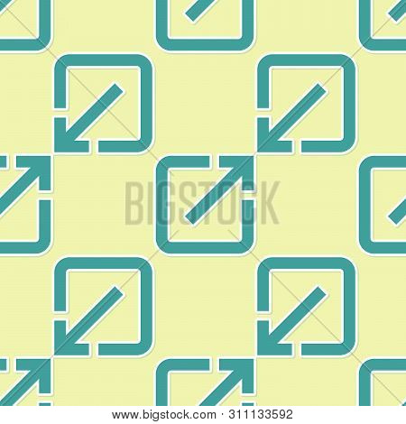 Green Open In New Window Icon Isolated Seamless Pattern On Yellow Background. Open Another Tab Butto