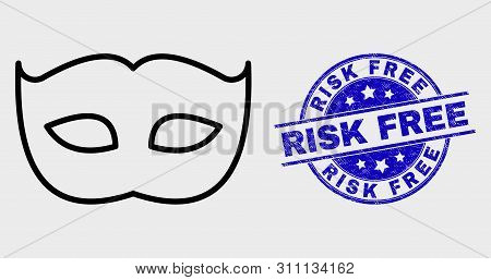 Vector Contour Private Mask Icon And Risk Free Seal Stamp. Blue Round Scratched Seal Stamp With Risk