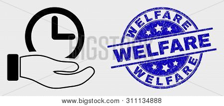Vector Linear Time Service Hand Icon And Welfare Seal. Blue Round Distress Stamp With Welfare Captio