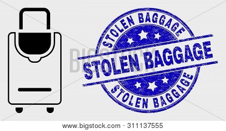 Vector Contour Voyage Luggage Pictogram And Stolen Baggage Seal. Blue Round Textured Seal Stamp With