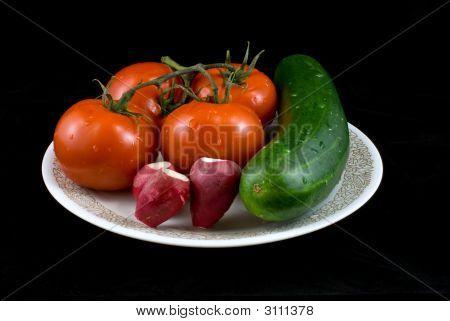 Vegetable Plate On Black