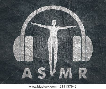Acronym ASMR - Autonomous Sensory Meridian Response. Health care conceptual image. Woman silhouette poster